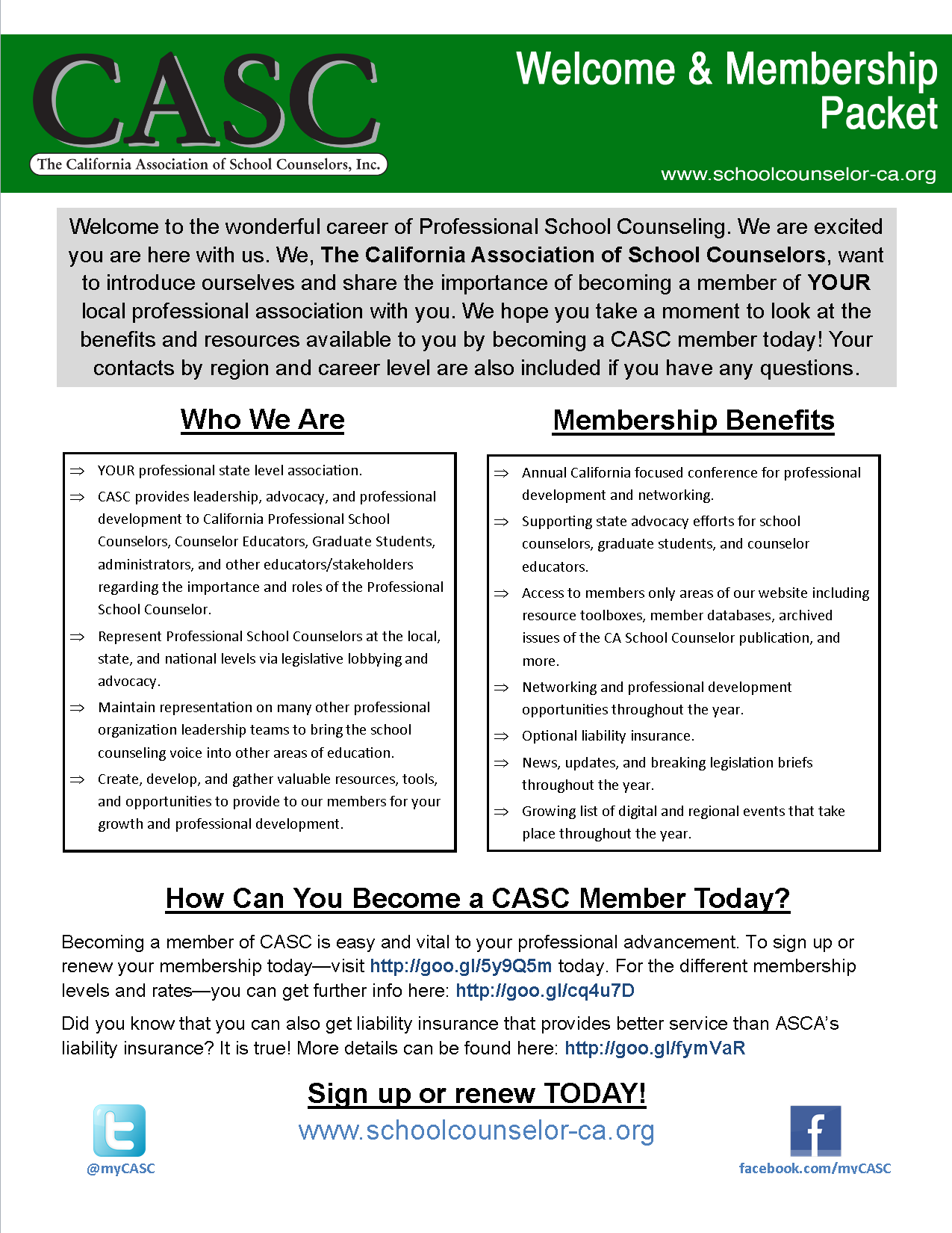 CASC membership packet